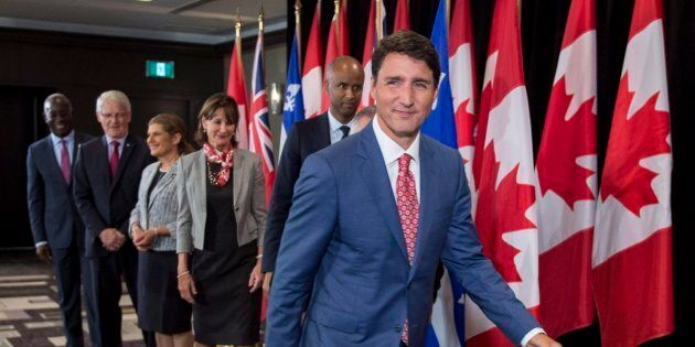 Prime Minister Justin Trudeau leaves a news conference held following a meeting with the Intergovernmental...