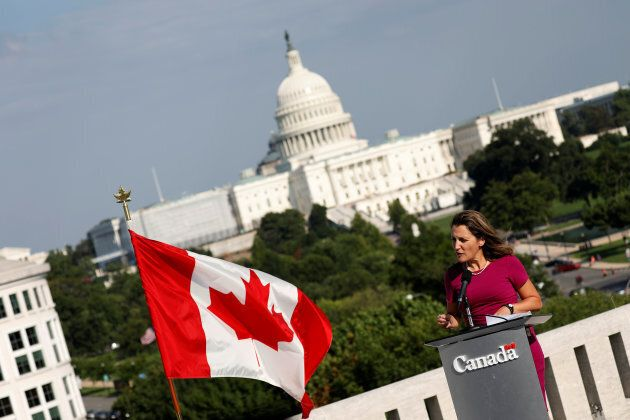 Foreign Minister Chrystia Freeland speaks at a news conference about the start of NAFTA renegotiation...