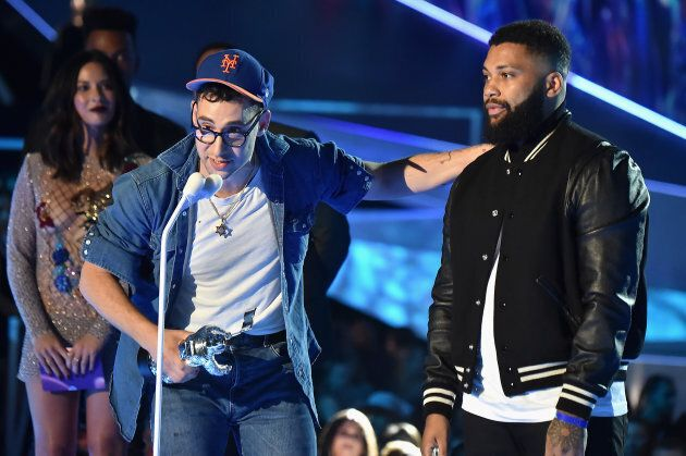 Co-songwriters Jack Antonoff and Sam Dew accept the Best Collaboration award for Taylor Swift and Zayn's...