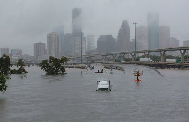 Interstate highway 45 is submerged from the effects of Hurricane Harvey seen during widespread flooding...