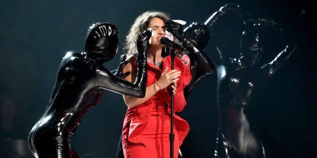 Alessia Cara performs onstage during the 2017 MTV Video Music Awards at The Forum on August 27, 2017...