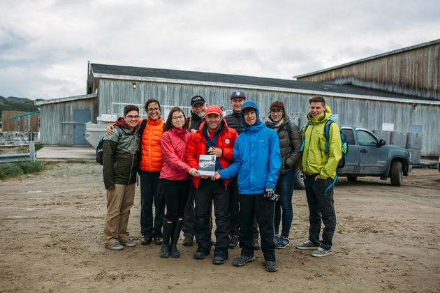Canada C3 founder and expedition leader Geoff Green, centre, and Canada C3 participants delivering a...