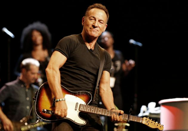 Bruce Springsteen plays during a sound check session ahead of his concert in Cape Town, January 26,