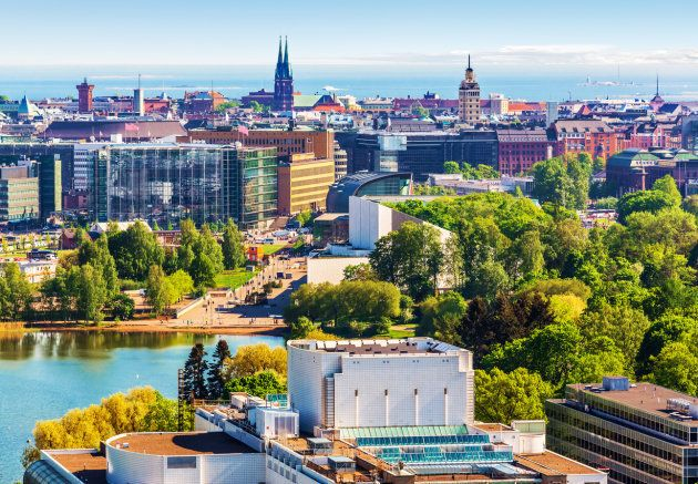 An aerial view of Helsinki, Finland. The country's largest pension fund is diversifying from U.S. stocks...