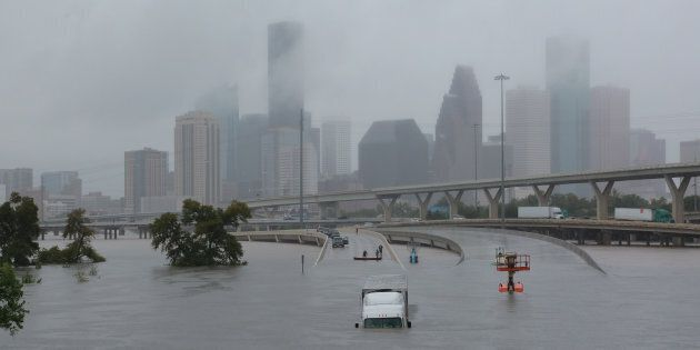 Interstate highway 45 is submerged during Hurricane Harvey, Houston, Texas on Aug. 27, 2017. The hurricane's...