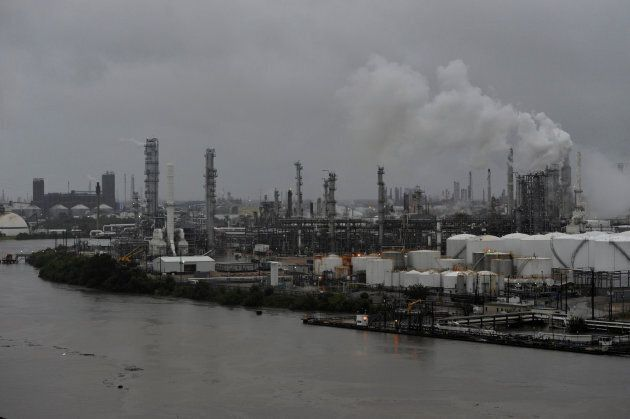 The Valero Houston Refinery is threatened by the swelling waters of the Buffalo Bayou after Hurricane...