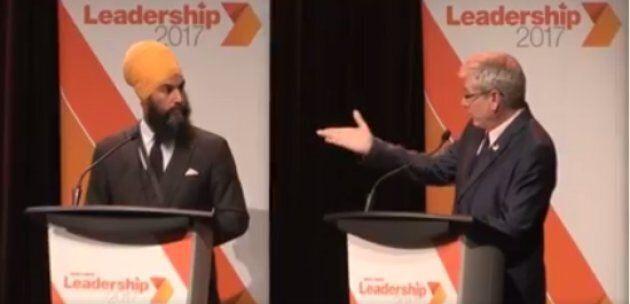 Charlie Angus and Jagmeet Singh debate in Montreal on Aug. 27, 2017.