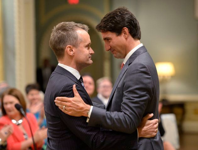 Prime Minister Justin Trudeau congratulates new veterans Affairs Minister Seamus O'Regan at a swearing-in ceremony at Rideau Hall in Ottawa on Aug. 28, 2017.