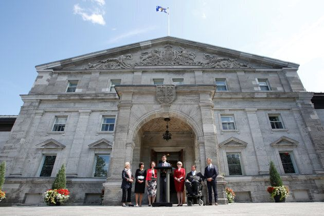 Prime Minister Justin Trudeau speaks during a news conference following a cabinet shuffle at Rideau Hall...