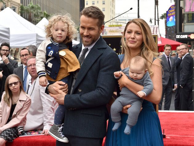 Ryan Reynolds and Blake Lively with daughters James (left) and Ines at the ceremony honoring Reynolds...