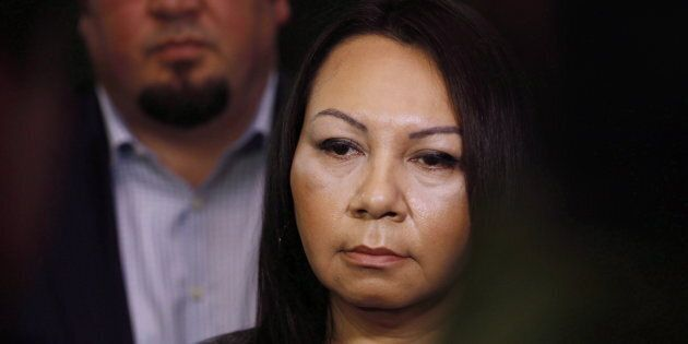 Sheila North Wilson, right, grand chief of Manitoba Keewatinowi Okimakanak, speaks to media at a press...