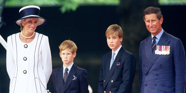 The Prince & Princess Of Wales and Princes William & Harry attend The Vj Day 50th anniversary celebrations In London, Aug. 19, 1995.  (Antony Jones/Julian Parker/UK Press via Getty Images)