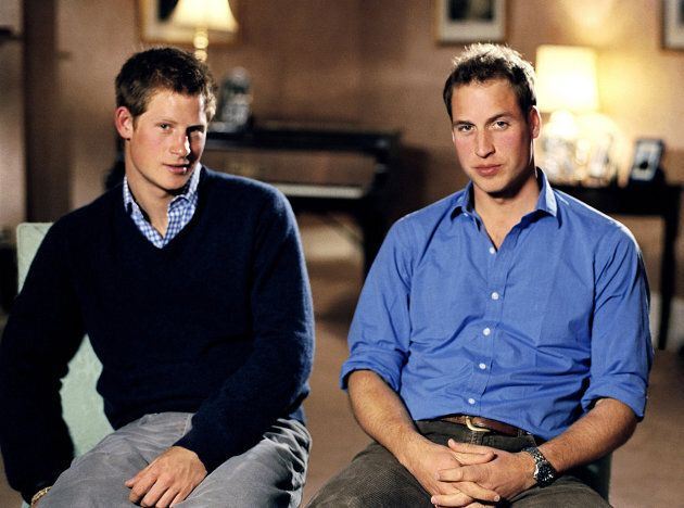 Prince Harry (left) and Prince William announcing a pop concert and memorial service is to be held next...