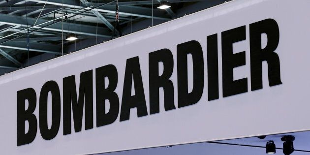 A Bombardier logo is pictured on the company booth during the European Business Aviation Convention &...