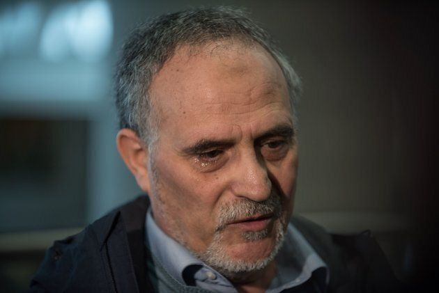 Mohamed Labidi, vice- president of the Islamic Cultural Center of Quebec, speaks to the media on Feb....