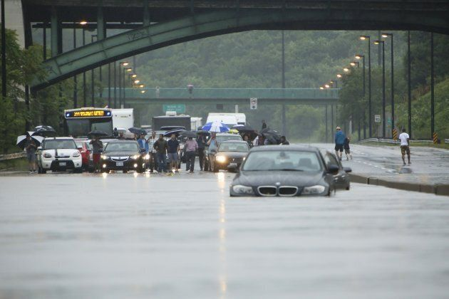 Motorists stuck on the Don Valley Parkway in Toronto on July 8,