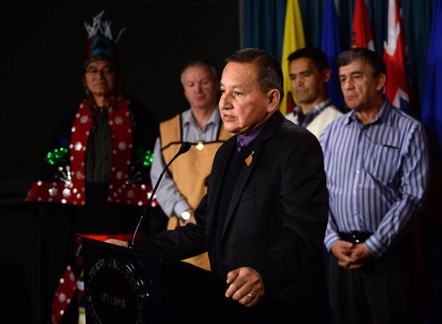 Grand Chief Stewart Phillip, President of the Union of B.C. Indian Chiefs, speaks as B.C. First Nations leaders come together to voice their rejections for Patronas' Pacific Northwest LNG project during a press conference on Parliament Hill in Ottawa on April 19, 2016.