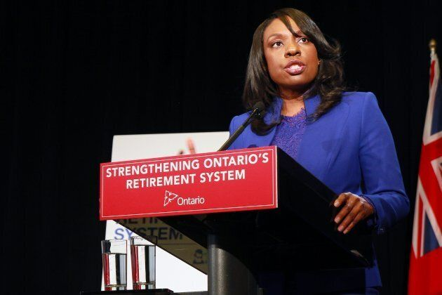 Mitzie Hunter speaks at a press conference in Ontario's legislature buildings on Dec. 8, 2014.