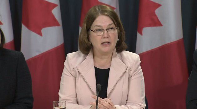 Former Minister of Health Jane Philpott at a press conference to announce new legislation about legalizing marijuana in Montreal, Que. on April 13, 2017.
