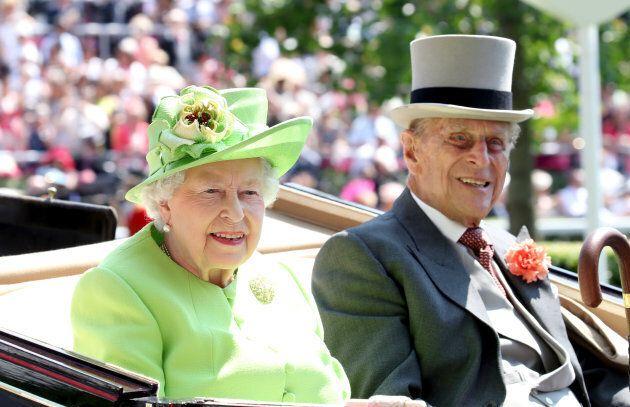 Queen Elizabeth II and Prince Philip, Duke of Edinburgh at the Ascot Racecourse on June 20, 2017 in Ascot,...