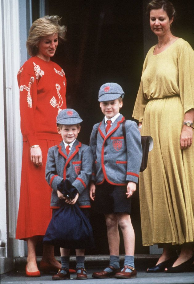 Princess Diana with her sons Prince William and Prince Harry at Wetherby School on September 12, 1989...