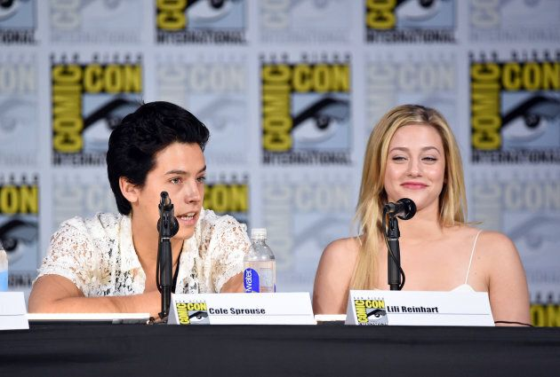 """Cole Sprouse and Lili Reinhart attend the """"Riverdale"""" special video presentation and Q+A during Comic-Con International 2017 at the San Diego Convention Center on July 22, 2017."""