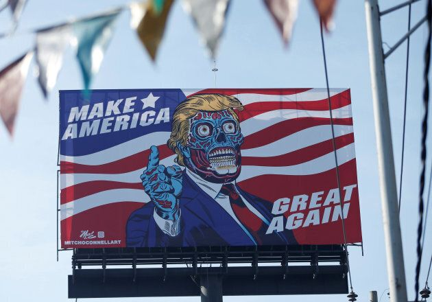 A giant billboard shows a drawing depicting U.S. President Donald Trump, along Periferico avenue in Mexico...