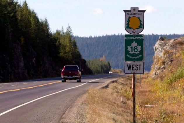 Highway 16 near Prince George, B.C. is shown on Oct. 8,