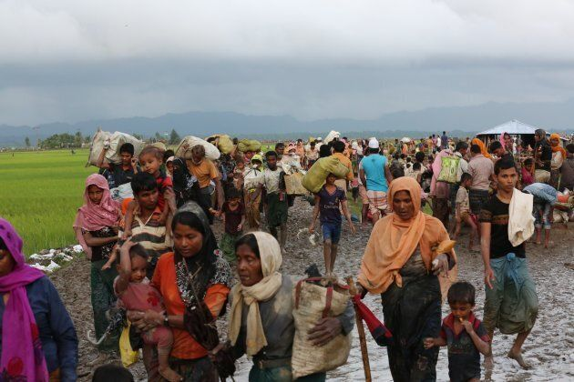 Groups of Rohingya Muslims flee from ongoing military operations in Myanmars Rakhine