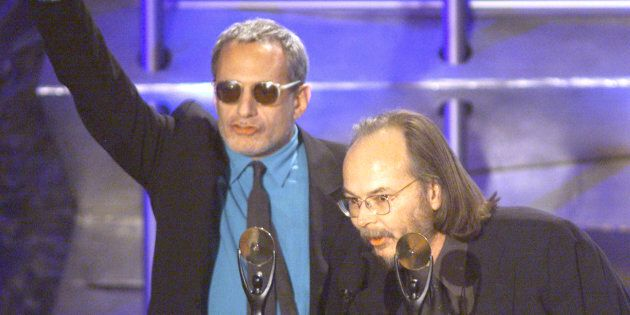 Musicians Donald Fagan (L) and Walter Becker (R) of Steely Dan speak to the audience after being inducted...