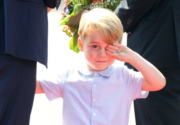 Prince George of Cambridge at the Berlin Tegel Airport on July 19, 2017, in Berlin, Germany. (Photo:...