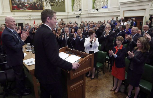 Newly-elected Conservative Party Leader Andrew Scheer receives a standing ovation from his Conservative...