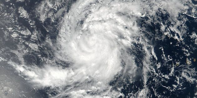 Satellite image of Tropical Storm Irma pictured here in the Eastern Atlantic Ocean on Aug. 30,