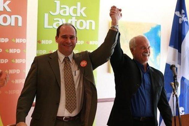 Guy Caron is shown with former NDP leader Jack Layton in Rimouski, Que. before the 2008
