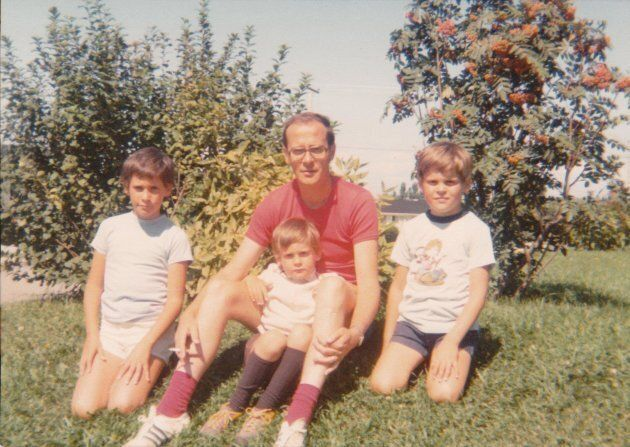 Guy Caron (on the left) at age six in 1974 with his dad Robert, and his brothers Eric, 3, and Yves,