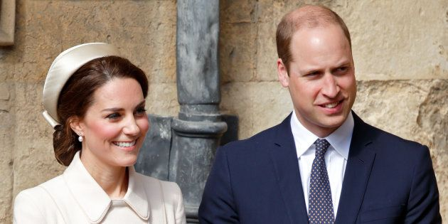 Catherine, Duchess of Cambridge and Prince William, Duke of Cambridge attend the traditional Easter Sunday...