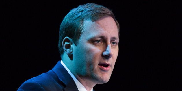 Tory MP Brad Trost speaks during a federal Conservative Party leadership debate in Vancouver, B.C., on...