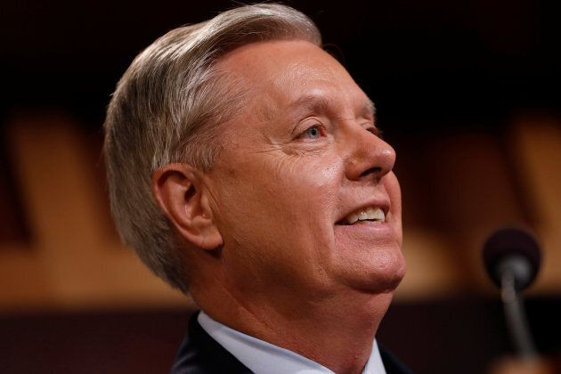 Senator Lindsey Graham (R-SC) speaks during a press conference about his resistance to the so-called...