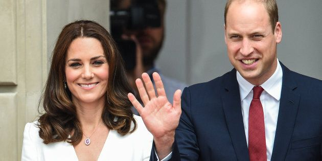 Prince William and Kate Middleton are welcomed at the Courtyard of the Presidential Palace on July 17,...