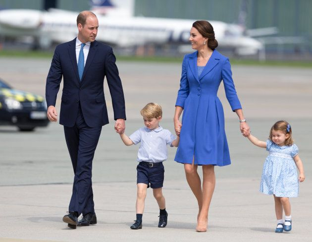 Prince William, Duke of Cambridge and Catherine, Duchess of Cambridge with their children in Warsaw, Poland on July 19, 2017. (Mateusz Wlodarczyk/NurPhoto via Getty Images)
