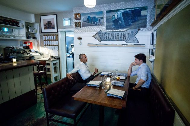 Prime Minister Justin Trudeau speaks during dinner with former U.S. president Barack Obama at Liverpool...