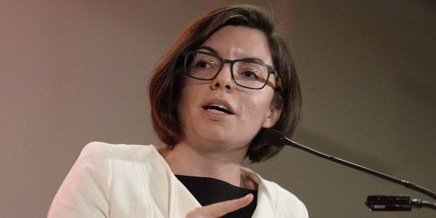 Niki Ashton speaks as she participates in the first debate of the federal NDP leadership race with Guy...