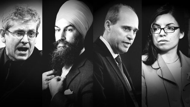 From left to right: Charlie Angus, Jagmeet Singh, Guy Caron, and Niki Ashton are vying for the federal...