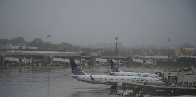 The empty gates at Logan International Airport in Boston, MA during Hurricane Sandy on Oct. 29, 2012.