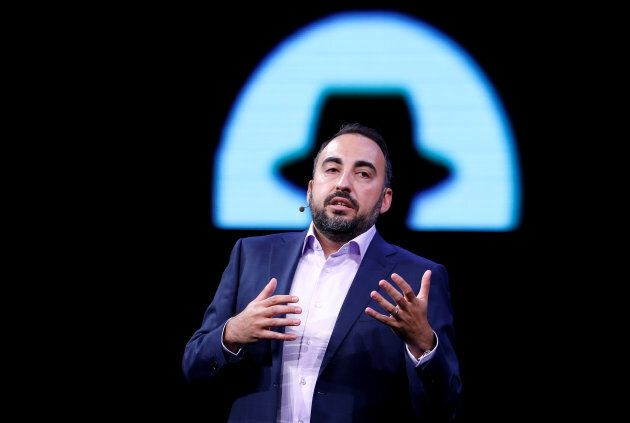 Facebook Chief Security Officer Alex Stamos gives a keynote address during the Black Hat information...