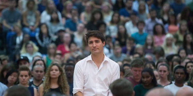 Prime Minister Justin Trudeau listens to a question during a town hall at UBC Okanagan in Kelowna, B.C.,...