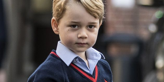 Prince George arrives for his first day of school at Thomas's School in Battersea, on September 7,