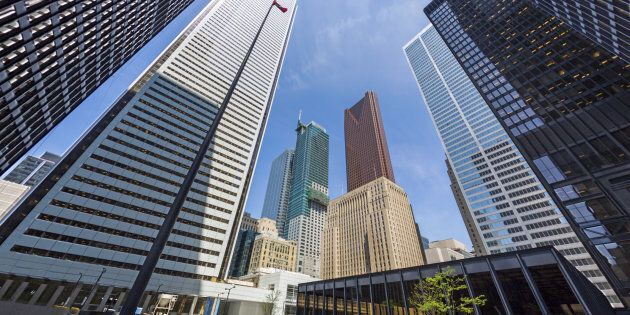 The headquarters of Bank of Montreal, Scotiabank, CIBC and Royal Bank of Canada can be seen in downtown...