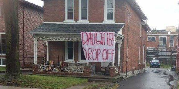 'Daughter Drop Off' Sign Near Queen's University Sparks