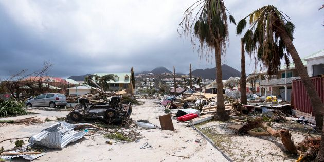 A photo taken Thursday shows damage in Orient Bay on the French Carribean island of Saint-Martin, after...